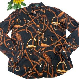 Ralph Lauren Equestrian Blouse Top RLL Logo Horse